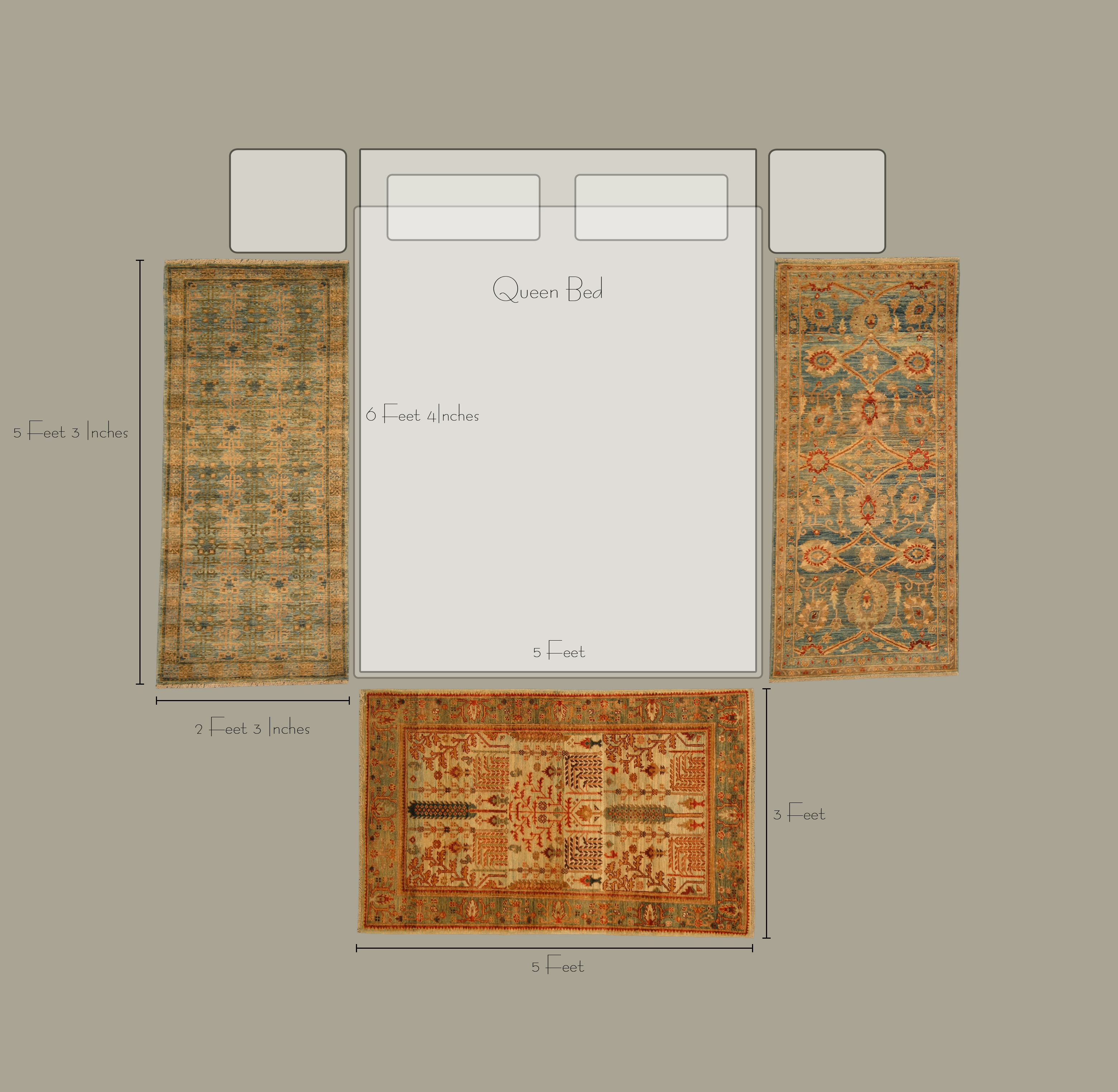 What is the right size rug for a bedroom